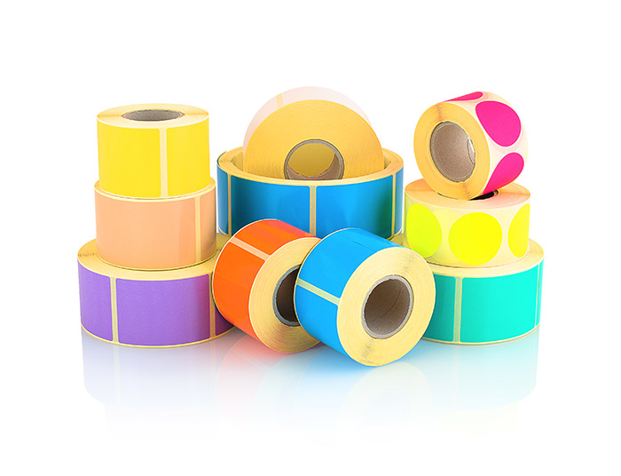 Colour washed labels in range of sizes, shapes and colours